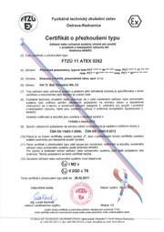 Certifikát přezkoušení typu FTZÚ 11 ATEX 0262 (typ PCT)