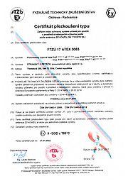 Certifikát přezkoušení typu FTZÚ 17 ATEX 0065 (typ PAP)