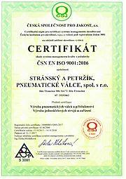 Certifikát ISO 9001:2016